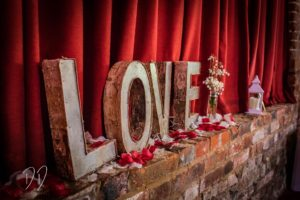 Love decorations at recent essex wedding
